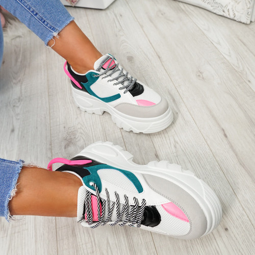 Ira Blue Lace Up Chunky Sneakers