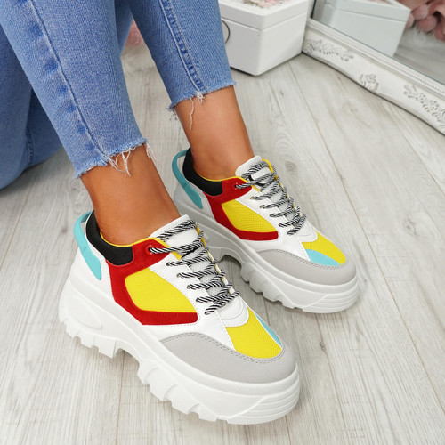 Ira Yellow Lace Up Chunky Sneakers