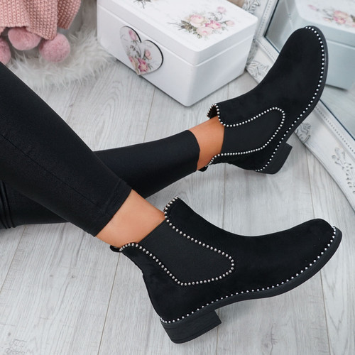 Ohya Black Studded Chelsea Boots