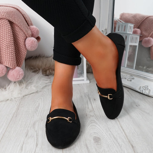 Amma Black Slip On Ballerinas