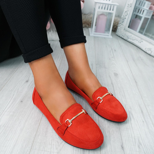 Amma Red Slip On Ballerinas