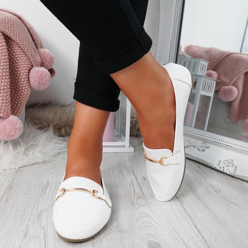 Amma White Slip On Ballerinas