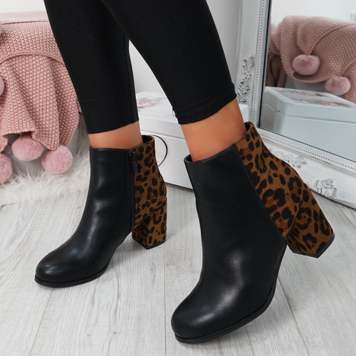 Enny Leopard Ankle Boots