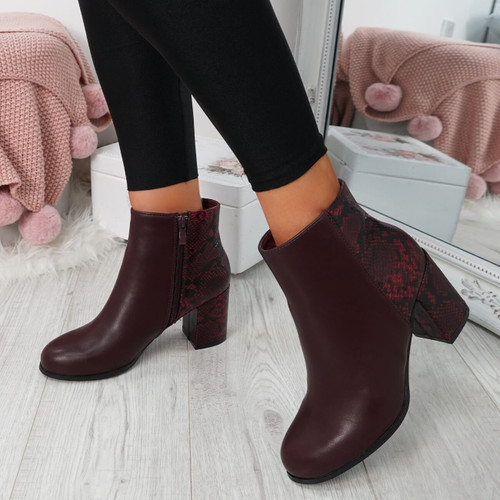 Enny Red Ankle Boots