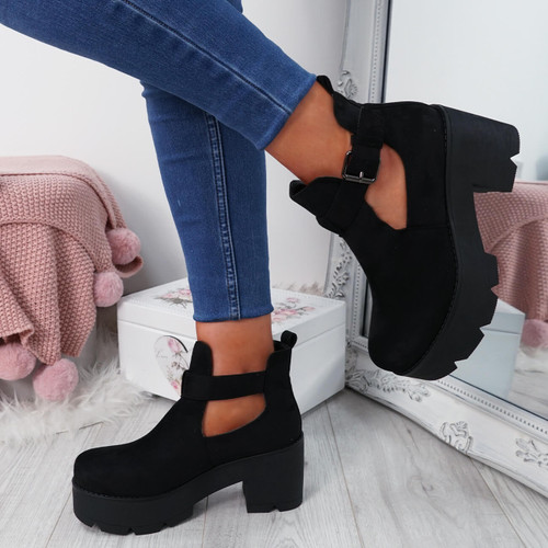 Nutte Black Chunky Ankle Boots