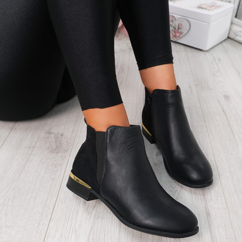 Cussy Black Gold Trim Ankle Boots