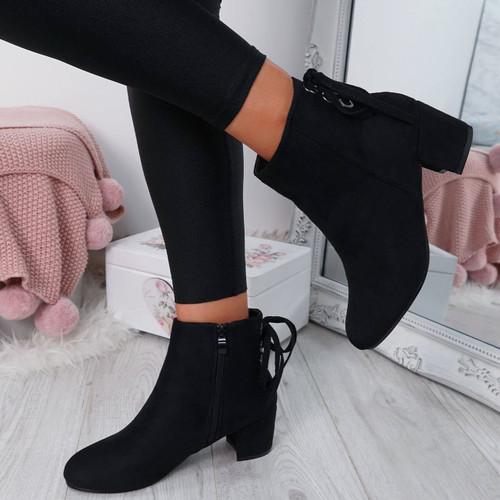 Hassa Black Zip Ankle Boots