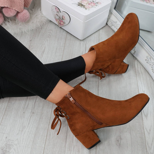 Hassa Camel Zip Ankle Boots