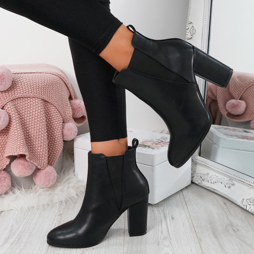 Bedda Black Chelsea Ankle Boots