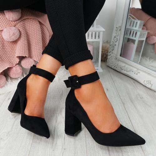 Ennya Black Block Heel Pumps