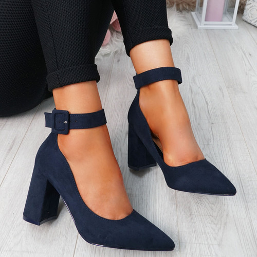 Ennya Navy Block Heel Pumps