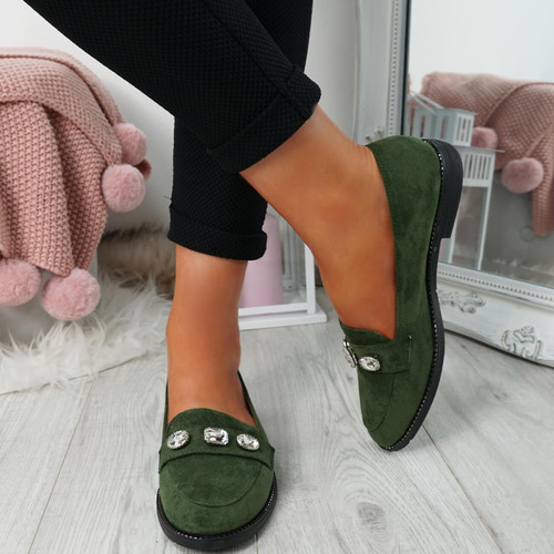 Lewe Green Studded Ballerinas