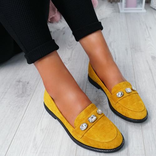Lewe Yellow Studded Ballerinas