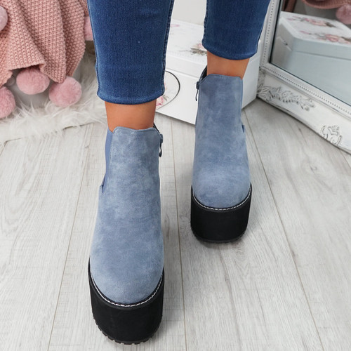 Lummo Blue Chunky Ankle Boots