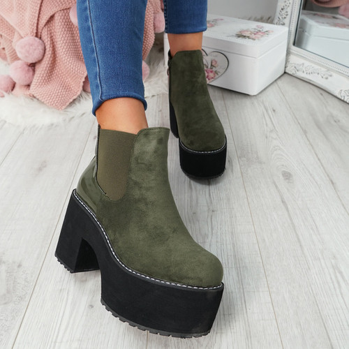 Lummo Green Chunky Ankle Boots