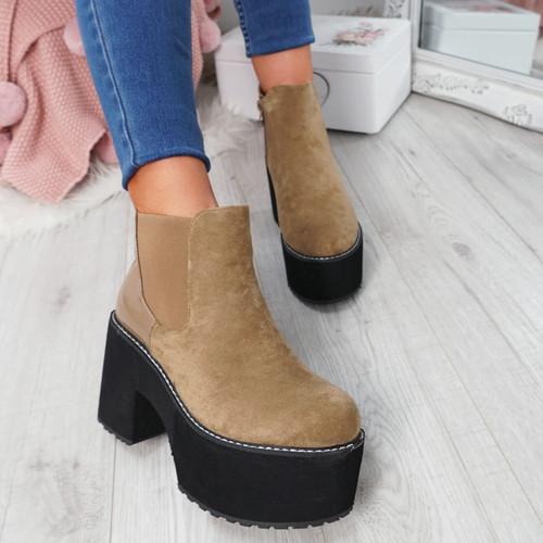 Lummo Khaki Chunky Ankle Boots