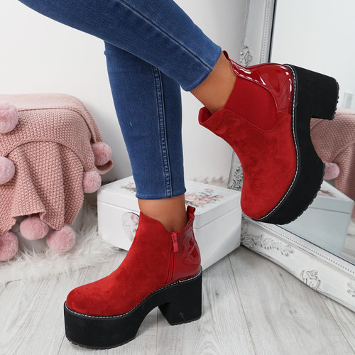 Lummo Red Chunky Ankle Boots