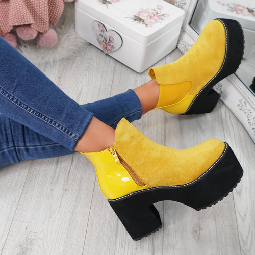 Lummo Yellow Chunky Ankle Boots