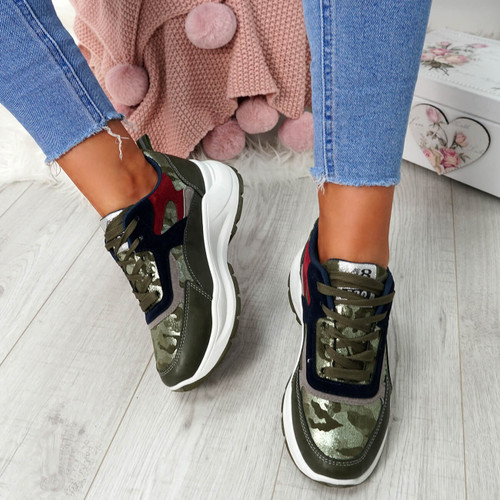 Nicolle Army Green Platform Trainers