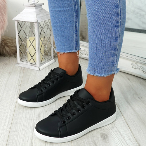 Ansy Black Lace Up Trainers