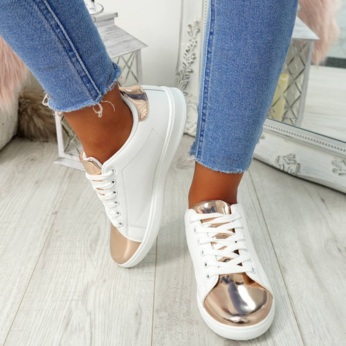 Ansy Champagne Lace Up Trainers