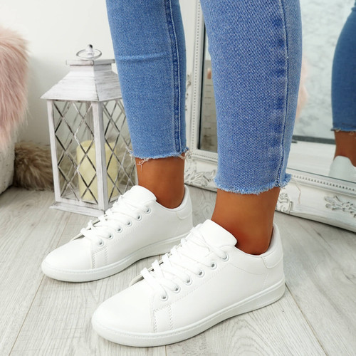 Ansy White Lace Up Trainers