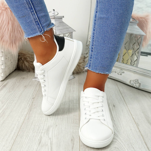 Ansy White Black Lace Up Trainers