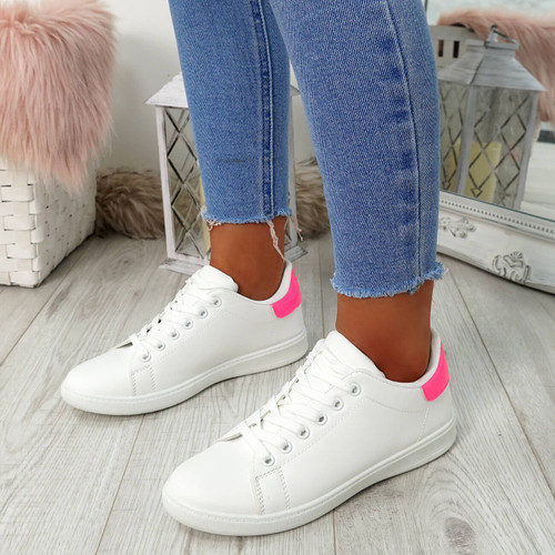 Ansy White Fuchsia Lace Up Trainers