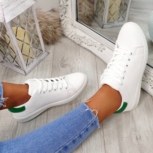 Ansy White Green Lace Up Trainers