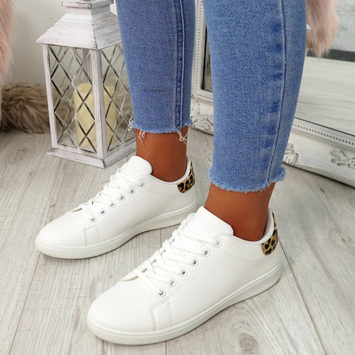 Ansy White Leopard Lace Up Trainers