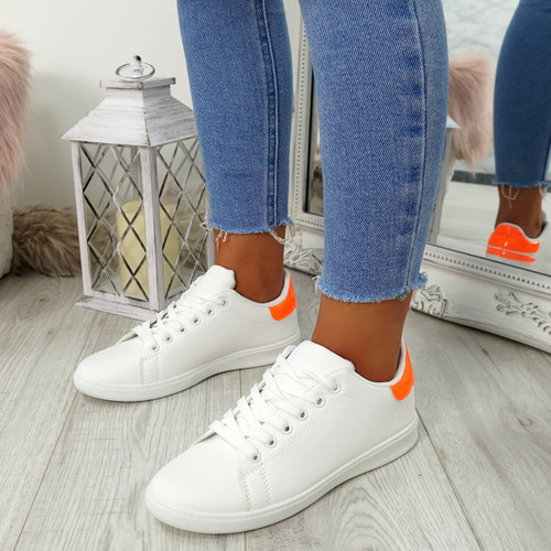 Ansy White Orange Lace Up Trainers