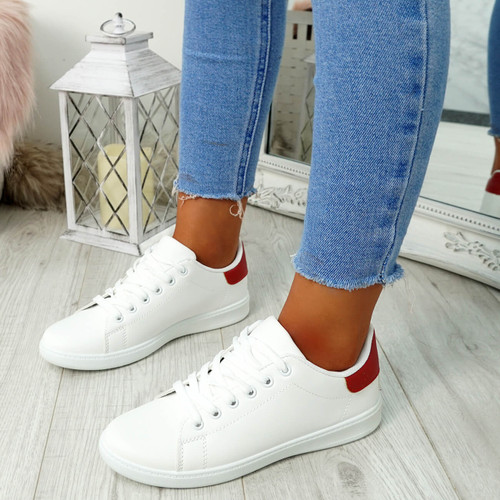 Ansy White Red Lace Up Trainers