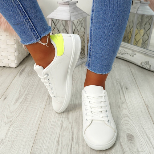 Ansy White Yellow Lace Up Trainers
