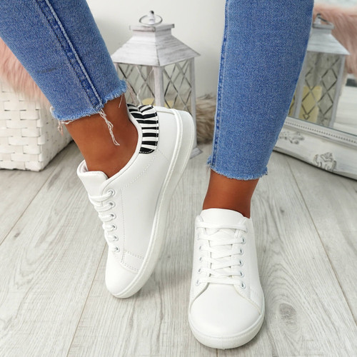 Ansy White Zebra Lace Up Trainers