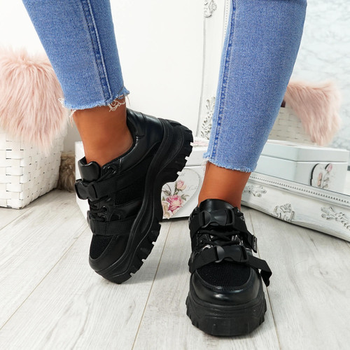 Aliya Black Chunky Buckle Trainers