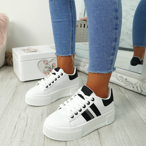 Yasmine White Black Glitter Trainers