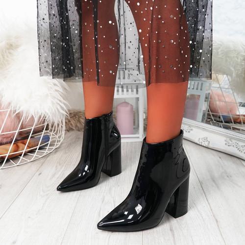 Selva Black Zip Patent Heel Ankle Boots