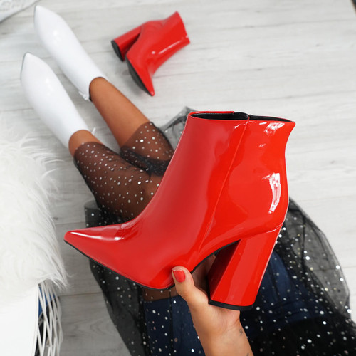 Selva Red Zip Patent Heel Ankle Boots