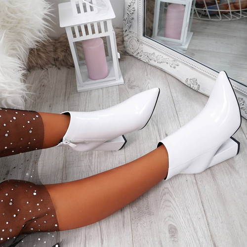 Selva White Zip Patent Heel Ankle Boots