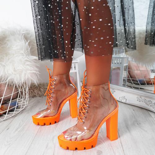 Heya Orange Clear Ankle Boots