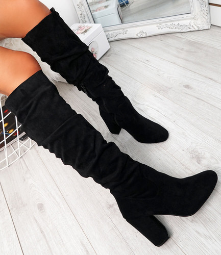 Elma Black Knee High Otk Boots