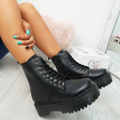 Resa Black Biker Ankle Boots