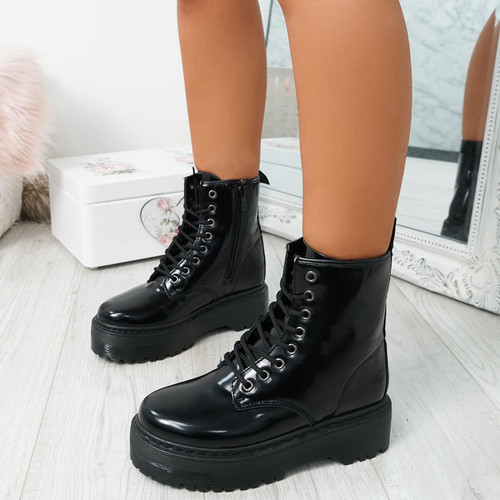 Resa Bright Black Biker Ankle Boots