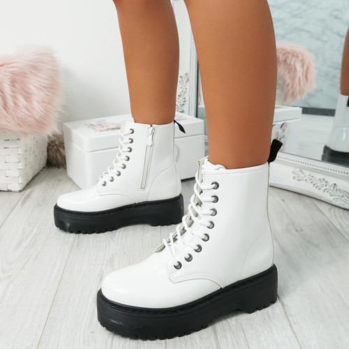 Resa Bright White Biker Ankle Boots