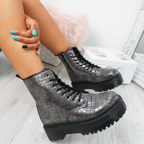 Resa Gun Croc Biker Ankle Boots