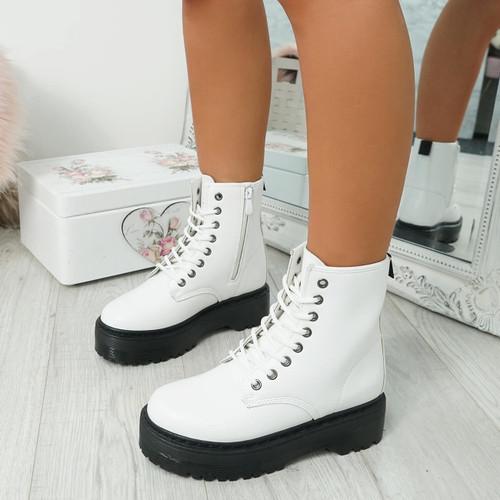 Resa White Biker Ankle Boots