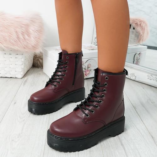 Resa Wine Red Biker Ankle Boots