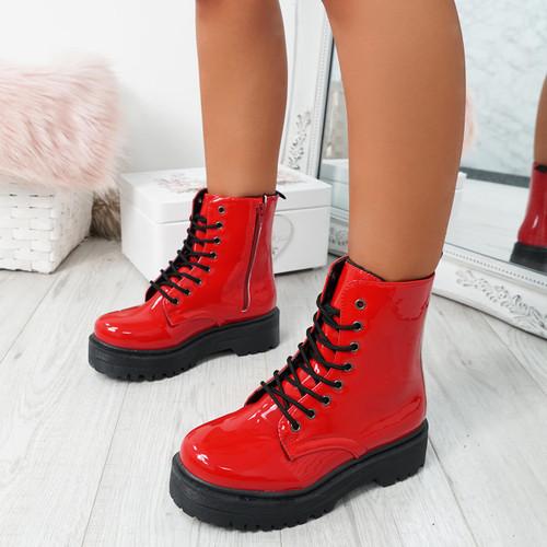Resa Red Biker Ankle Boots