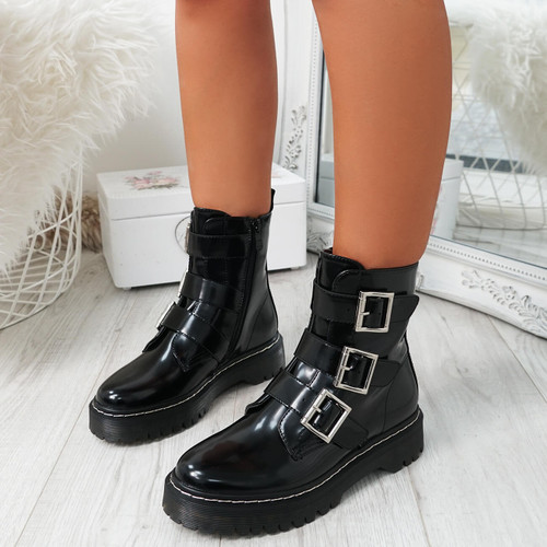 Mera Black Buckle Ankle Boots