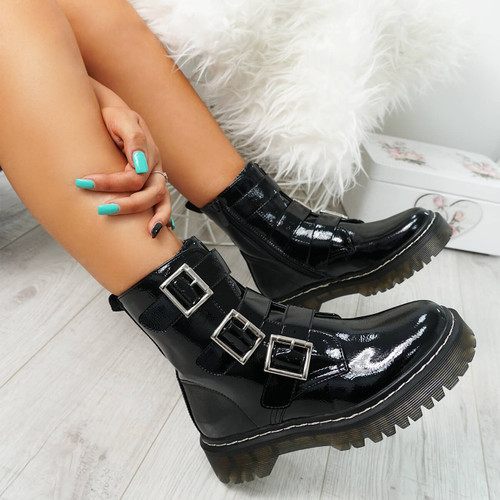 Mera Black Patent Buckle Ankle Boots
